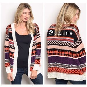Sweaters - Just In! IVORY MULTI CARDIGAN